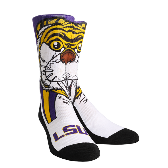 LSU Tigers Rock 'Em Flat Knit Mike The Tiger Mascot Crew Socks