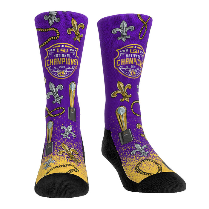LSU Tigers Rock 'Em 2019 National Champions Flat Knit Icon Crew Socks