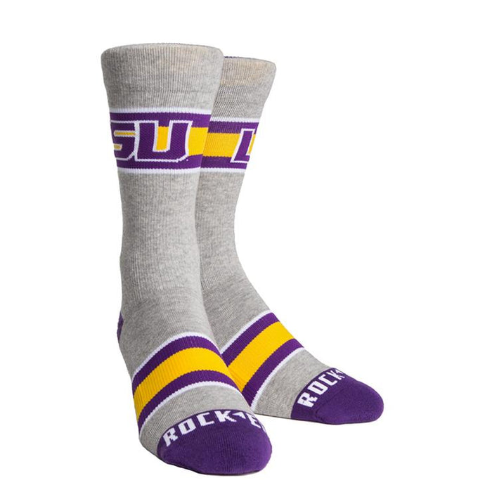 LSU Tigers Rock 'Em Woven Knit Varsity Stripe Crew Socks