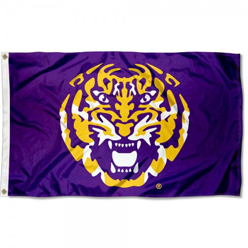 LSU Tigers Printed 3' x 5' Tiger Head Flag - Purple