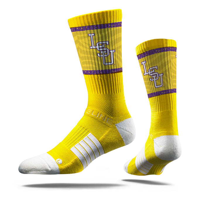 LSU Tigers Strideline Baseball Interlock Performance Crew Socks - Gold