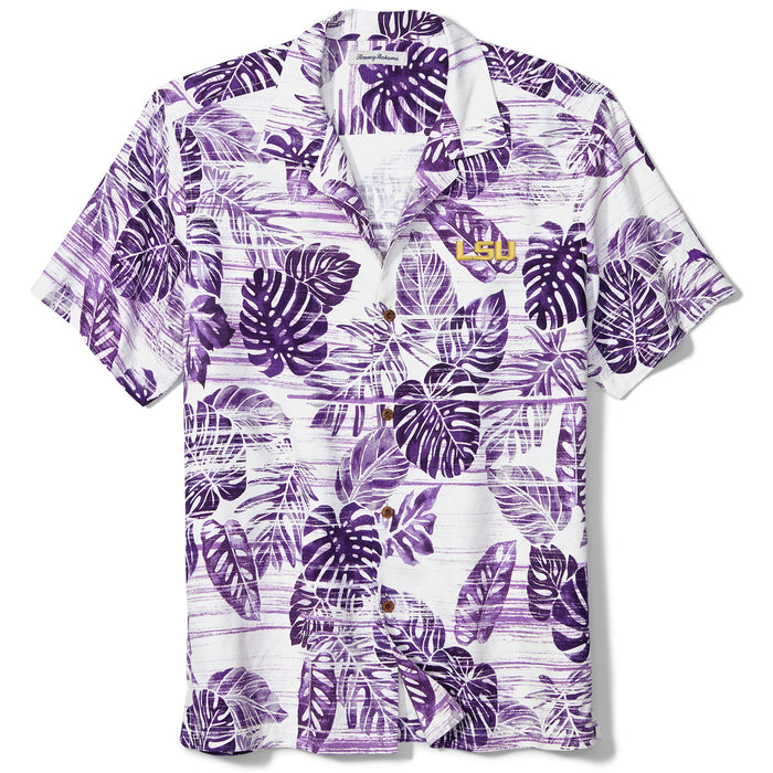 LSU Tigers Tommy Bahama Sport Super Fan Silk Hawaiian Camp Shirt - Purple
