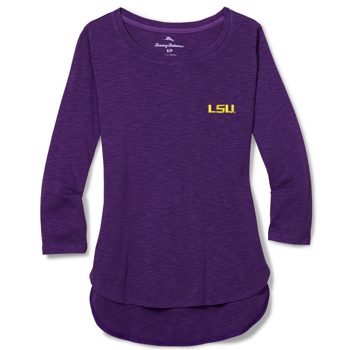 LSU Tigers Tommy Bahama Women's Ashby 3/4 Sleeve T-Shirt – Purple