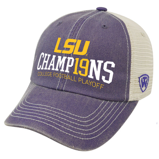 LSU Tigers Top Of The World 2019 National Champions Bolster Trucker Hat - Purple