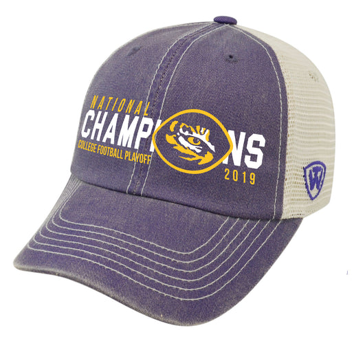 LSU Tigers Top Of The World 2019 National Champions Speed Trucker Hat - Purple