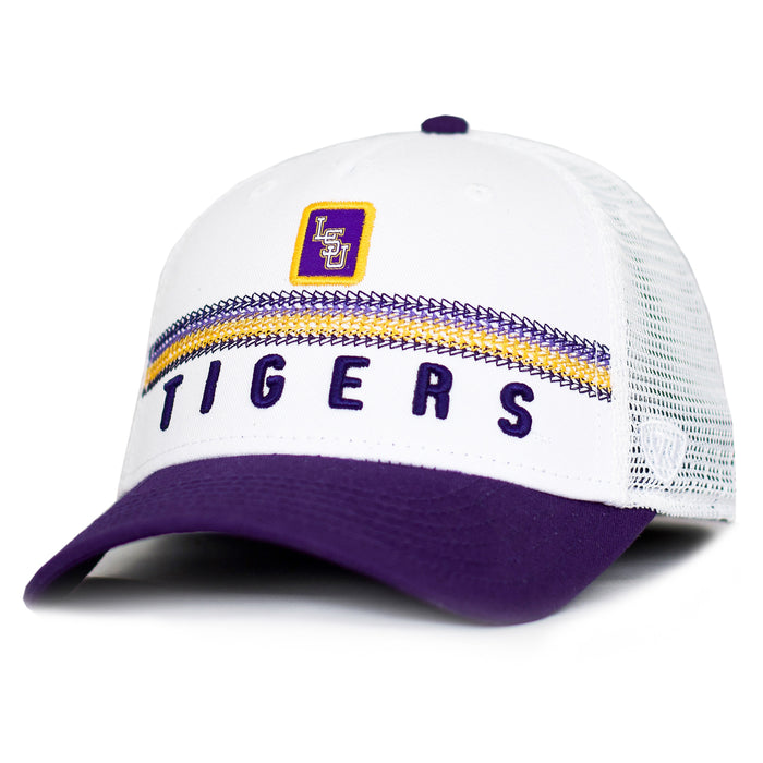 LSU Tigers Top Of The World Bayswaters Mesh Two-Tone Trucker Hat - White
