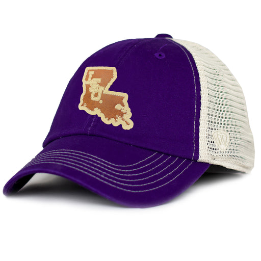 LSU Tigers Top Of The World Hidestate Mesh Trucker Hat - Purple