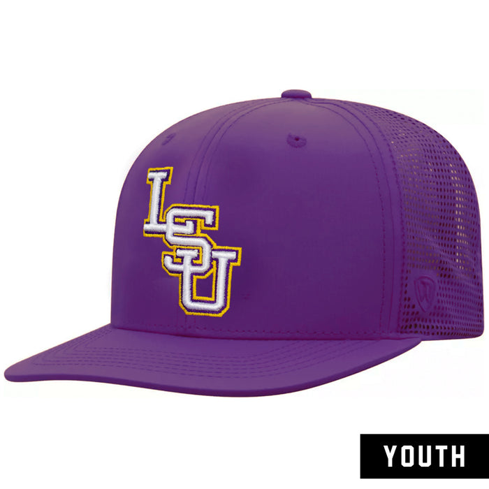 LSU Tigers Top Of The World Flight Youth Performance Mesh Snapback Hat - Purple