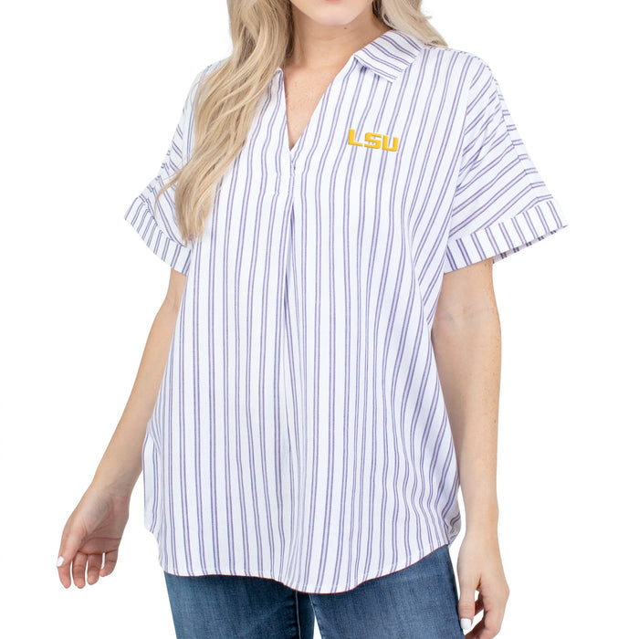 LSU Tigers UG Apparel Short Sleeve Striped Blouse