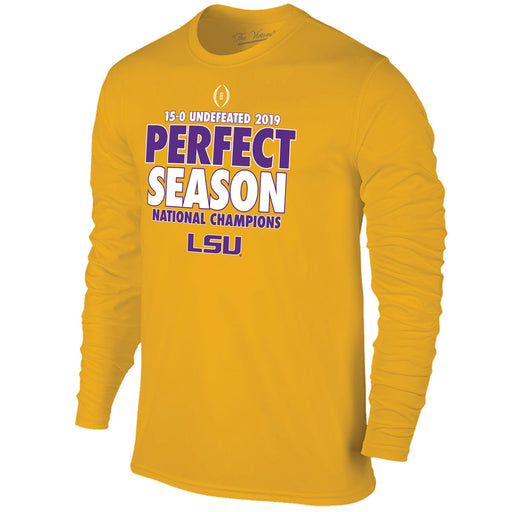 LSU Tigers Victory 2019 National Champions Perfect Season Long Sleeve T-Shirt - Gold