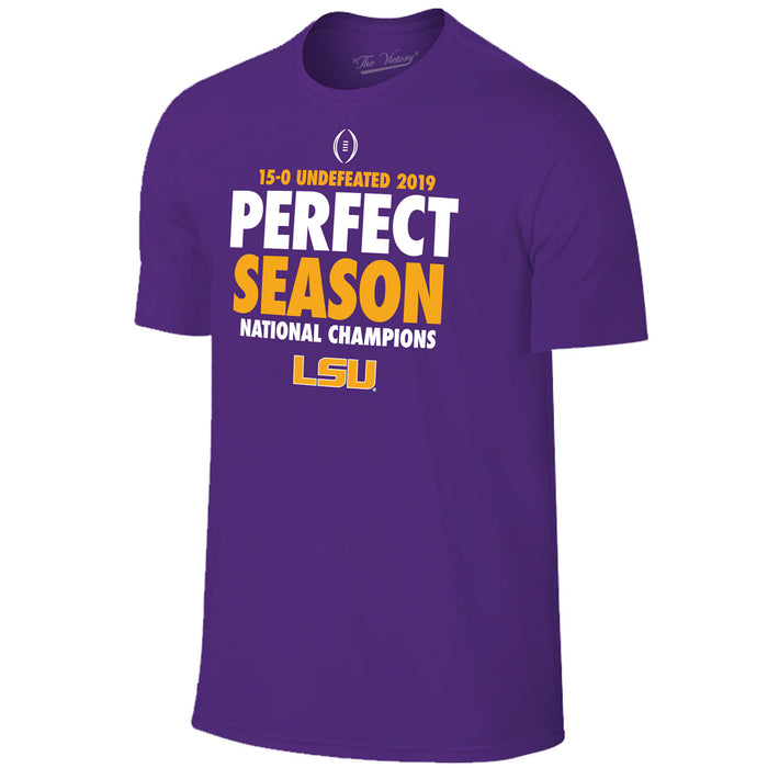 LSU Tigers Victory 2019 National Champions Perfect Season T-Shirt - Purple