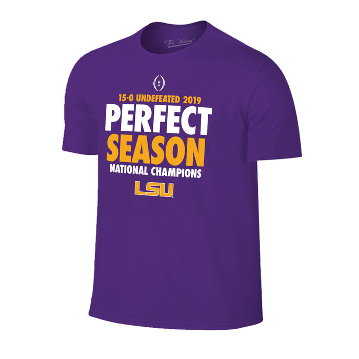 LSU Tigers Victory 2019 National Champions Perfect Season Youth T-Shirt - Purple