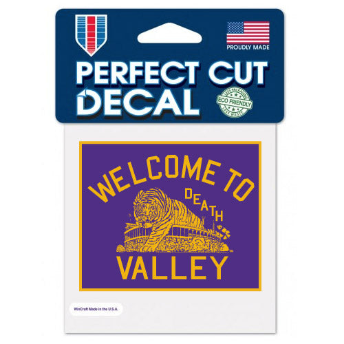 "LSU Tigers Vault Welcome To Death Valley 4""x 4"" Decal"