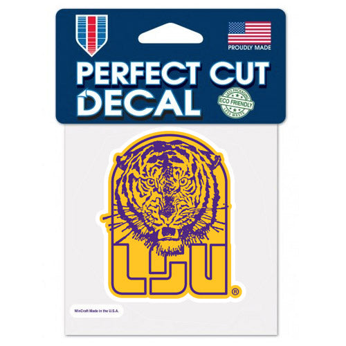 "LSU Tigers Retro Vault Tiger 4""x 4"" Perfect Cut Decal"