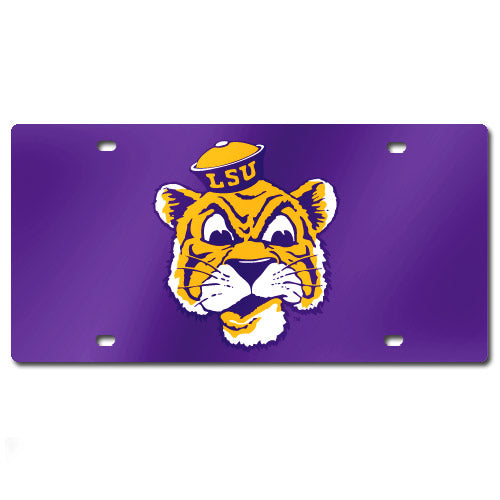 LSU Tigers Retro College Vault Beanie Mike Laser-Cut License Plate - Purple