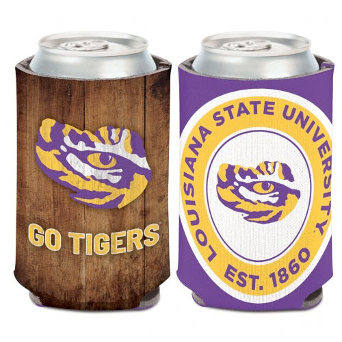 LSU Tigers Wood Grain Double Sided Can Holder Koozie