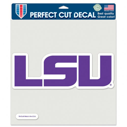 "LSU Tigers Geaux Font 8""x8"" Perfect Cut Decal - Purple"