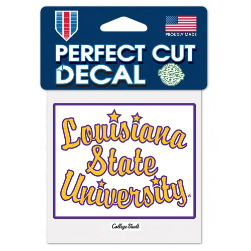 "LSU Tigers Retro Basketball Script 4""x4"" Perfect Cut Decal"
