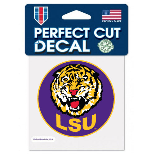 "LSU Tigers Retro Round Vault Tiger Circle  4""x 4"" Perfect Cut Decal"