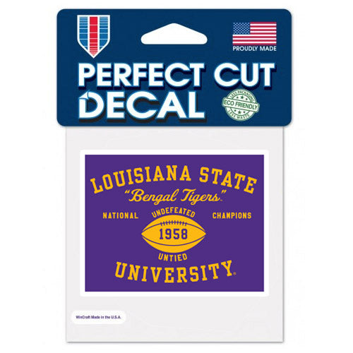 "LSU Tigers Retro Vault 1958 National Champions 3""x 4"" Perfect Cut Decal"