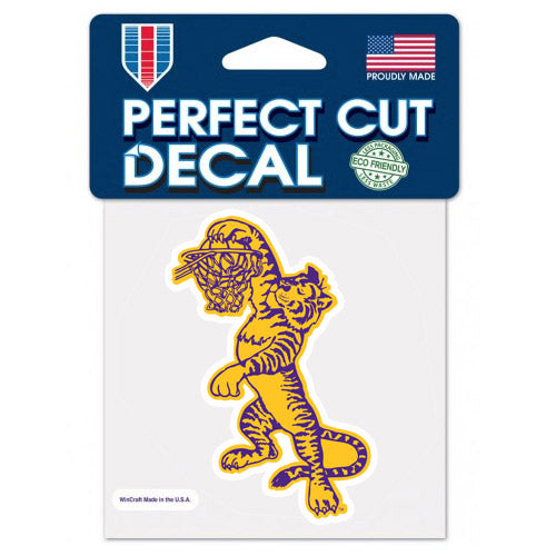 "LSU Tigers Retro Basketball Dunking Tiger 4""x4"" Perfect Cut Decal"