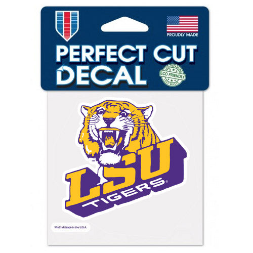 "LSU Tigers Retro Vault Slant 4""x 4"" Perfect Cut Decal"