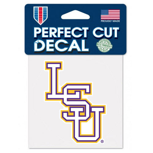 "LSU Tigers Interlock 4""x4"" Perfect Cut Decal"