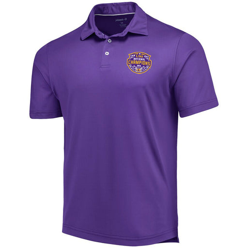 LSU Tigers Johnnie-O 2019 National Champions Birdie Stretch Performance Polo - Purple