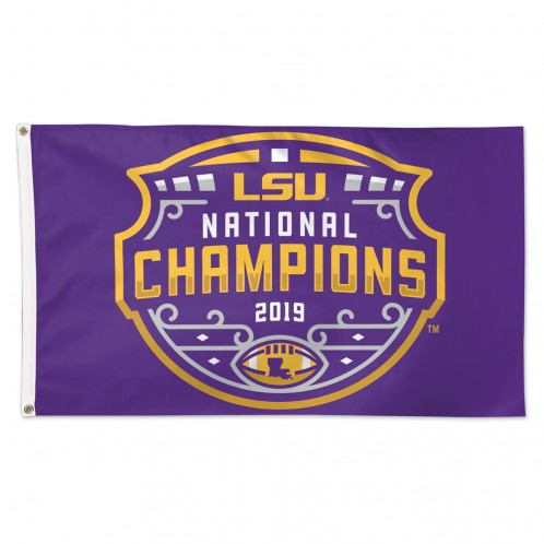 LSU Tigers 2019 National Champions Icon Deluxe 3' x 5' Printed Flag - Purple
