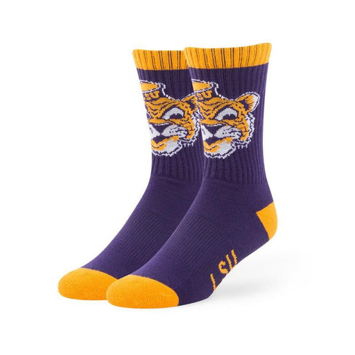 LSU Tigers 47 Brand Bolt Beanie Mike Woven Knit Crew Socks
