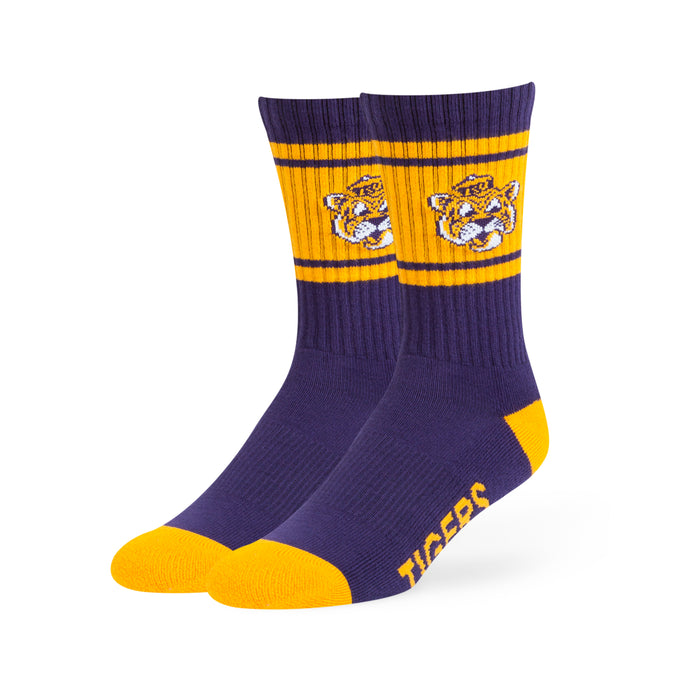 LSU Tigers 47 Brand Duster Beanie Mike Woven Knit Crew Socks