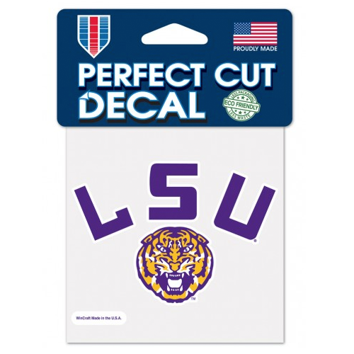 "LSU Tigers Helmet Arch 4""x4"" Perfect Cut Decal"