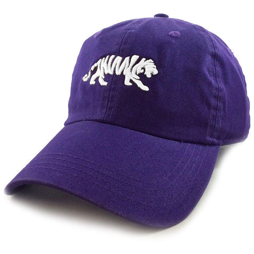 LSU Tigers Ahead Silhouette Walking Tiger Classic Solid Adjustable Hat - Purple / White
