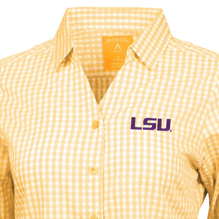 LSU Tigers Antigua Ladies' Structure Gingham Long Sleeve Shirt - Gold