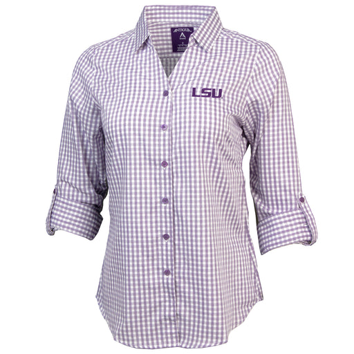 LSU Tigers Antigua Ladies' Structure Gingham Long Sleeve Shirt - Puple