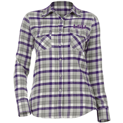 LSU Tigers Antigua Women's Instinct Plaid Flannel Long Sleeve Shirt - Grey