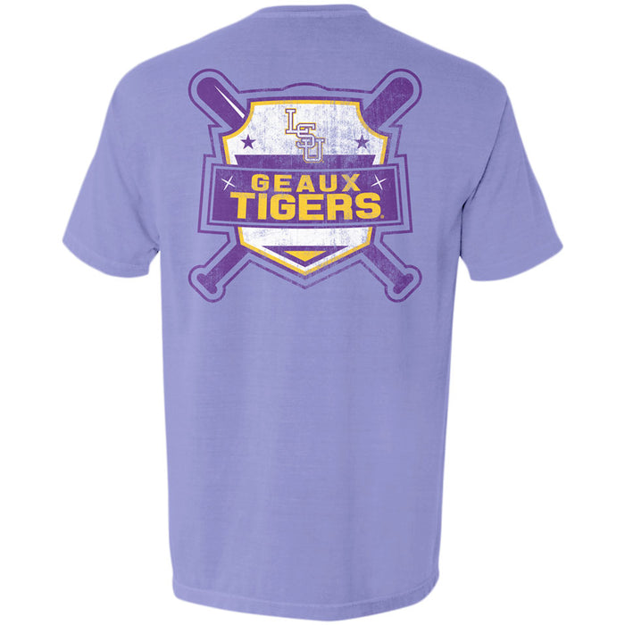 LSU Tigers Baseball Shield Garment Dyed T-Shirt - Violet