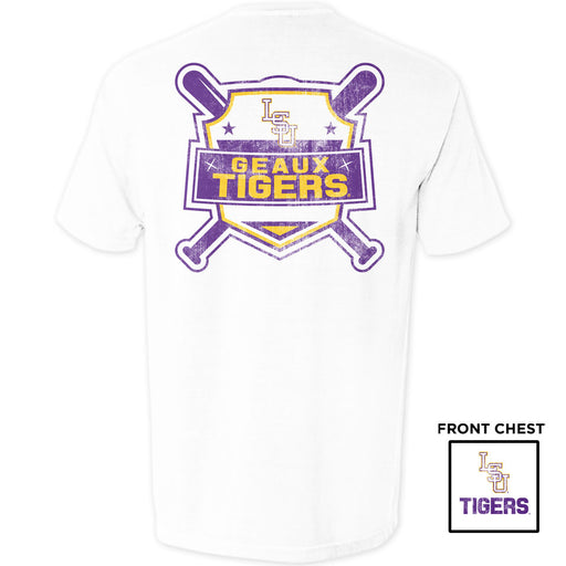LSU Tigers Baseball Shield Garment Dyed T-Shirt - White