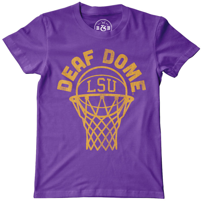 LSU Tigers Basketball Deaf Dome Youth T-Shirt - Purple