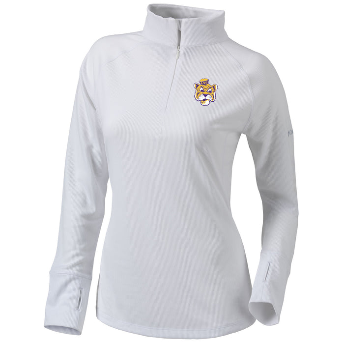 LSU Tigers Columbia Golf Beanie Mike Omni-Wick Flop Shot Women's Performance 1/4 Zip Pullover - White