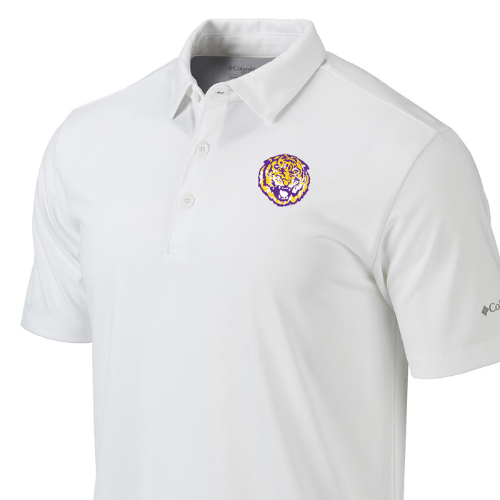 LSU Tigers Columbia Sportswear Round Vault Drive Polo - White