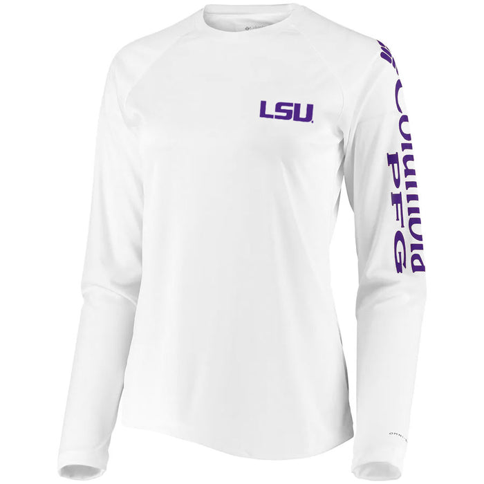 LSU Tigers Columbia Sportswear Women's Performance Long Sleeve Tidal T-Shirt - White
