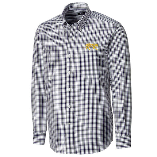 LSU Tigers Cutter & Buck Gilman Plaid Silhouette Woven Shirt - Purple