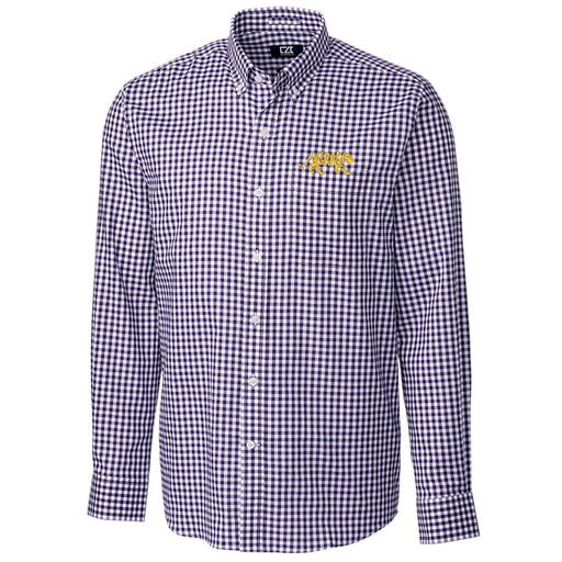LSU Tigers Cutter & Buck Gingham League Silhouette Woven Shirt - Purple