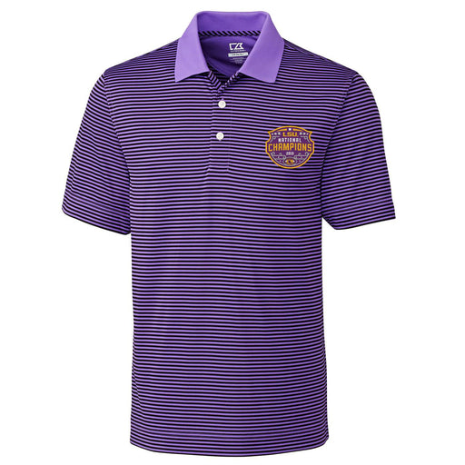 LSU Tigers Cutter & Buck Trevor Stripe 2019 National Champions Polo - Purple