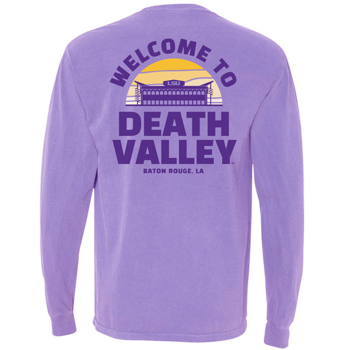 LSU Tigers Death Valley Sunset Garment Dyed Long Sleeve Pocket T-Shirt - Amethyst