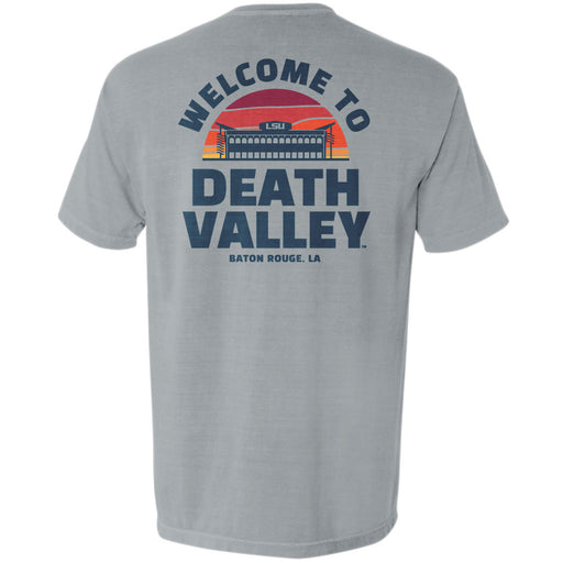 LSU Tigers Death Valley Sunset Garment Dyed Pocket T-Shirt - Grey