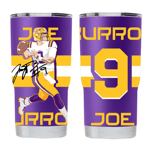 LSU Tigers Gametime Sidekick Joe Burrow Full Wrap 20oz Tumbler - Purple