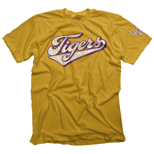 LSU Tigers Highland & State Baseball Lead Off T-Shirt - Old Gold