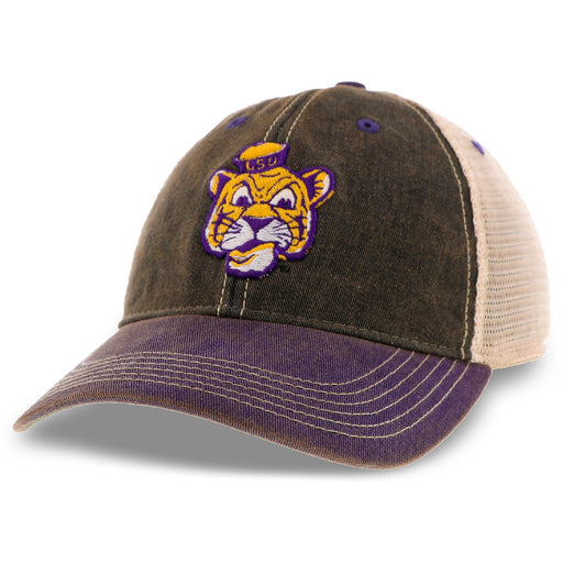 LSU Tigers Legacy Beanie Mike OFA Trucker Hat - Black / Purple